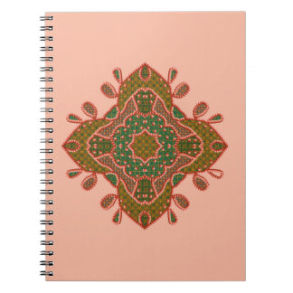Beads, Teal And Peach Motif Notebook