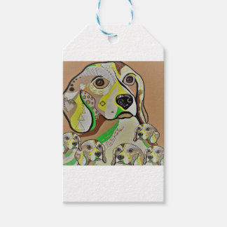 Beagle and Babies Brown Tones Gift Tags
