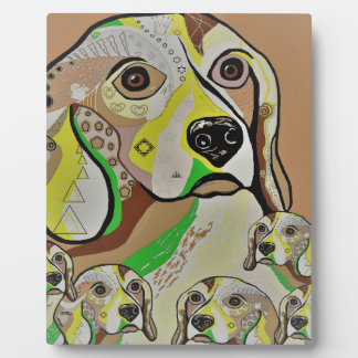 Beagle and Babies Brown Tones Plaque