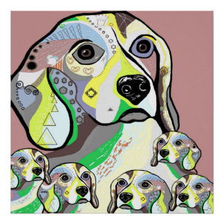Beagle and Babies Soft Color Palette Poster
