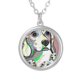 Beagle and Babies Soft Color Palette Silver Plated Necklace
