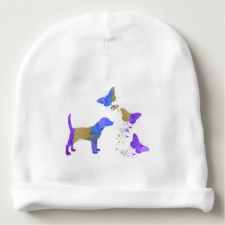 Beagle And Butterflies Baby Beanie