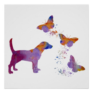 Beagle And Butterflies Poster