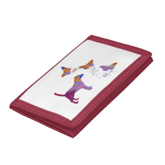 Beagle And Butterflies Trifold Wallet