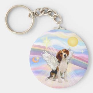 Beagle Angel Basic Round Button Key Ring