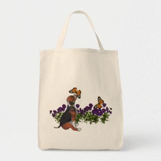 Beagle Butterflies Pansies Tote Bag