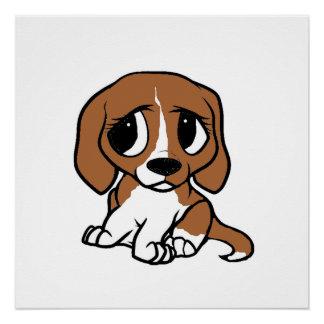 beagle cartoon red white poster