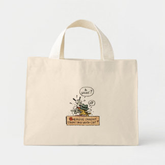 Beagle Caught Dancing with a Cat Mini Tote Bag