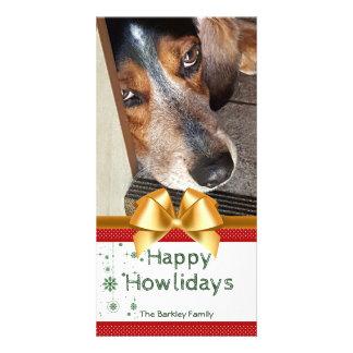 Beagle Christmas Photo Happy Howlidays Gold Bow Card