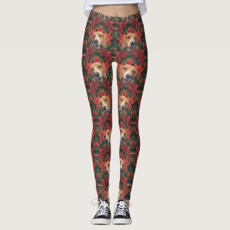 Beagle Christmas Red Poinsettias Leggings