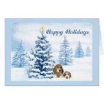 Beagle Christmas Snowy Tree Greeting Card