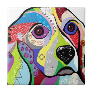 Beagle Close-up Ceramic Tile