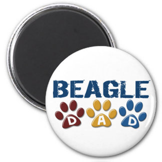 BEAGLE DAD Paw Print 6 Cm Round Magnet