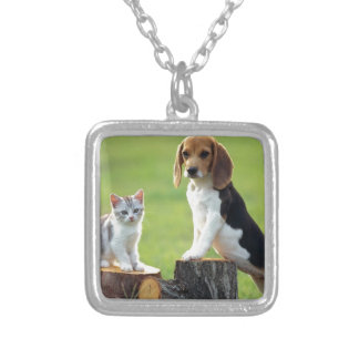 Beagle Dog And Grey Tabby Kitten Silver Plated Necklace
