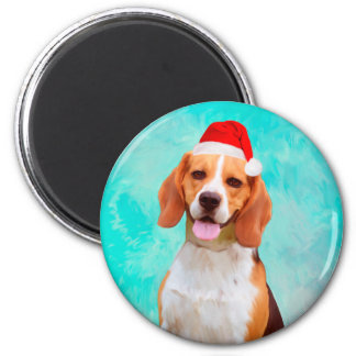 Beagle Dog Christmas Santa Hat Portrait Magnet