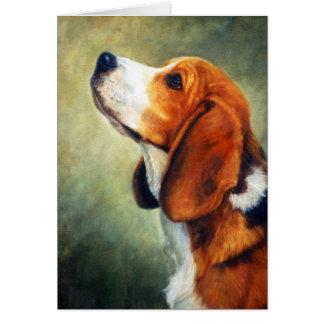 Beagle Dog Portrait Blank Greeting Card