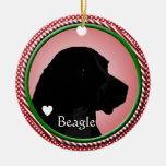 BEAGLE DOG SILHOUETTE CHRISTMAS ORNAMENT