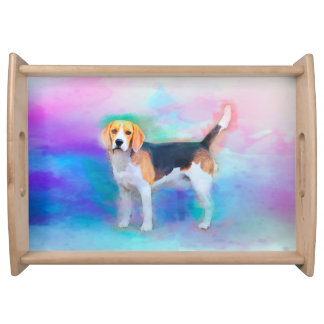 Beagle dog watercolor art painting serving tray