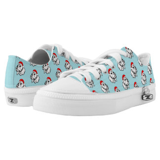 Beagle Dog with Christmas Santa Hat Pattern Low Tops