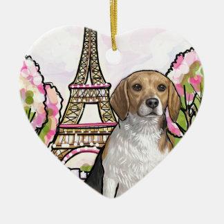 beagle eiffel tower paris ceramic heart decoration
