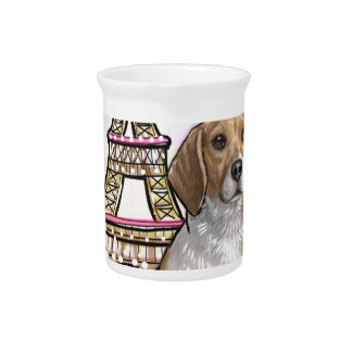 beagle eiffel tower paris pitcher