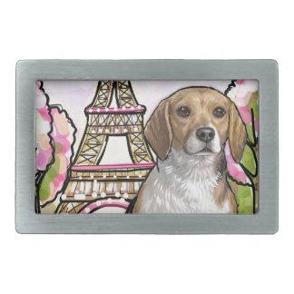 beagle eiffel tower paris rectangular belt buckle