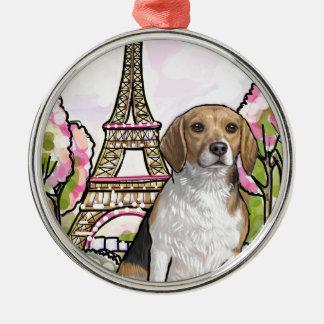 beagle eiffel tower paris Silver-Colored round decoration