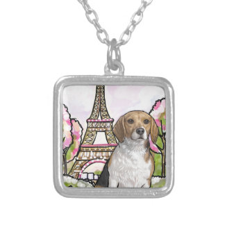 beagle eiffel tower paris silver plated necklace