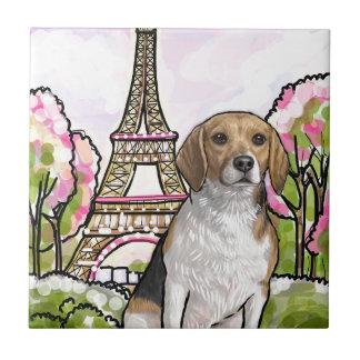 beagle eiffel tower paris small square tile