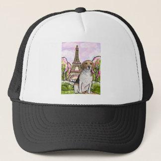 beagle eiffel tower paris trucker hat