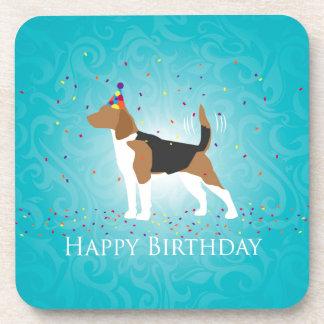 Beagle Happy Birthday Design Drink Coasters