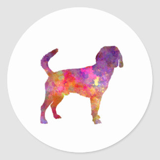Beagle Harrier in watercolor Classic Round Sticker