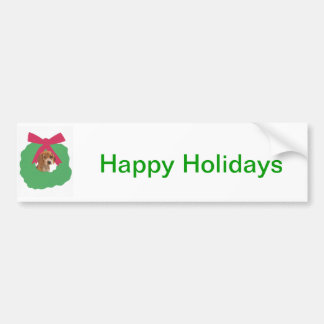 Beagle Holiday Wreath Bumper Sticker