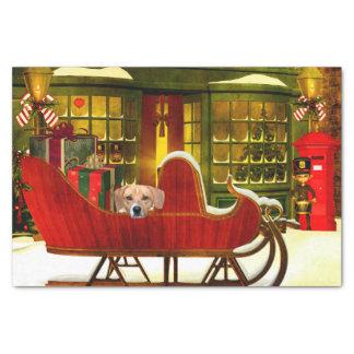 "Beagle in a Christmas sleigh 10"" X 15"" Tissue Paper"
