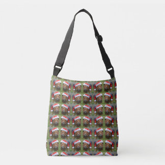 Beagle In Santa Hat & Christmas Garland Crossbody Bag