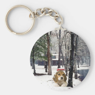 Beagle In The Snow Keychain