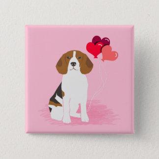 Beagle Love Balloon Button - Pin back button