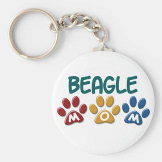 BEAGLE MOM Paw Print Basic Round Button Key Ring