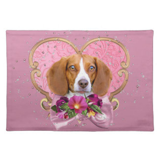 Beagle Mom Pink Heart Placemat