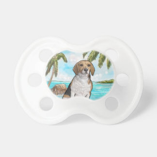 Beagle on Vacation Tropical Beach Baby Pacifier