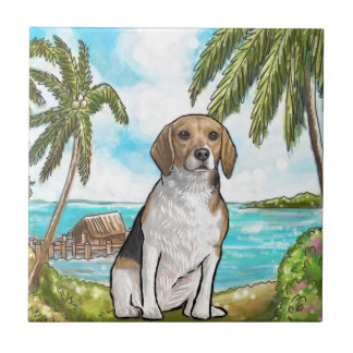 Beagle on Vacation Tropical Beach Ceramic Tile