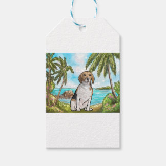 Beagle on Vacation Tropical Beach Gift Tags