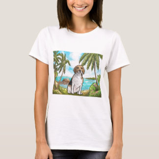 Beagle on Vacation Tropical Beach T-Shirt