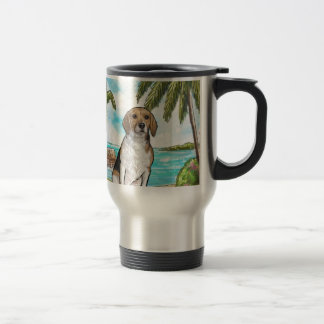 Beagle on Vacation Tropical Beach Travel Mug