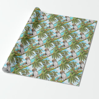 Beagle on Vacation Tropical Beach Wrapping Paper