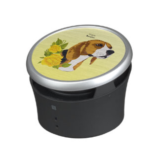 Beagle on Yellow Roses Bluetooth Speaker
