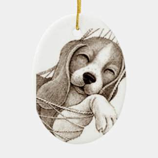**BEAGLE PUP IN HAMMOCK*** CHRISTMAS ORNAMENT