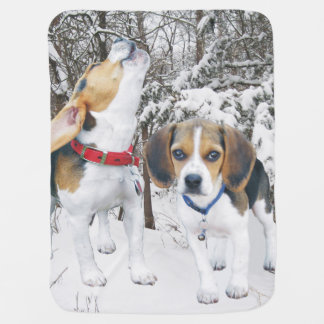 Beagle Puppies Snowy Woods Baby Blanket