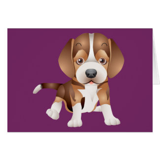 Beagle Puppy Dog Purple Blank Note Card