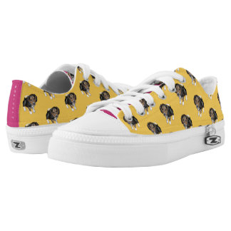 Beagle Puppy #GOFORTH Yellow and Hot Pink Low Tops